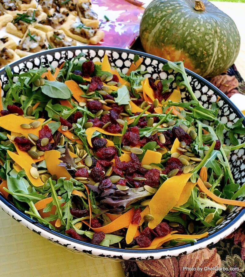 Fall Holiday Recipe Ideas - Shaved Butternut Squash Salad with Dried Cranberries