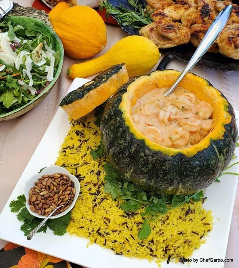 Fall Holiday Recipe Ideas - Creamy Cassava with Shrimp Pumpkin Bowl