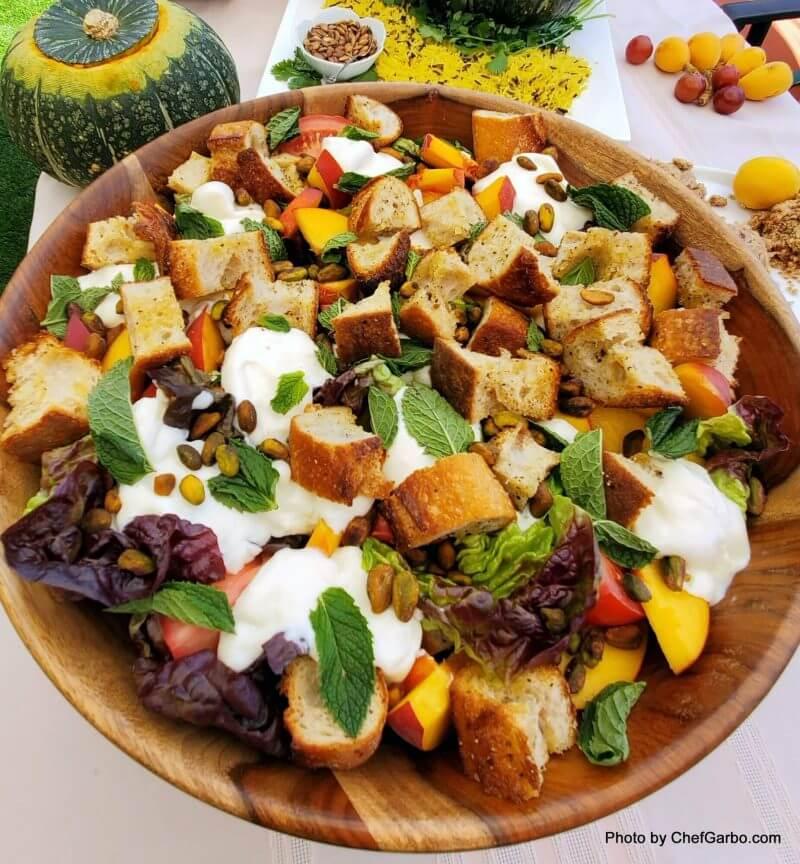Fall Holiday Recipe Ideas - Peach Panzanella Salad