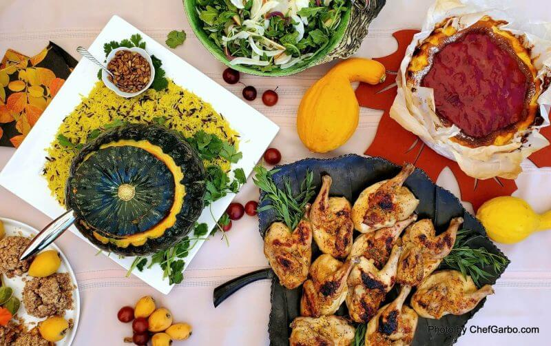Fall Holiday Recipe Ideas - Table Scape with Green Pumpkin and Yellow Rice